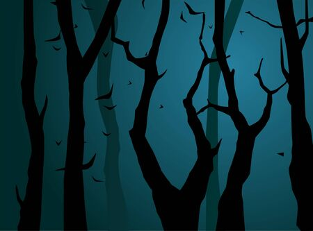 Scene of forest at night. illustration