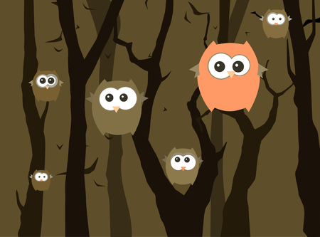 Funny owls in the night forest. illustration.
