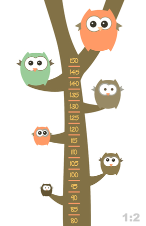 tallness: Baby height measure with funny owls on the tree Illustration