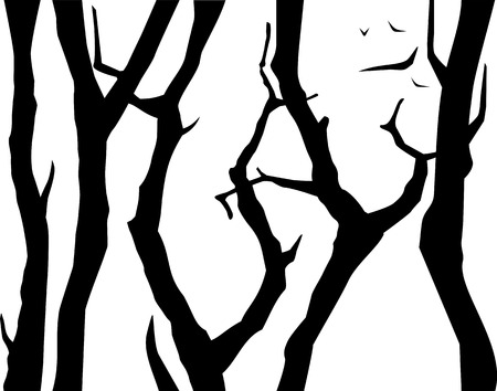 Silhouettes of trees in black and white with seamless composition.