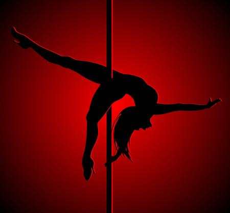 Flexible dancing girl in red light. Pole dance. Illustration