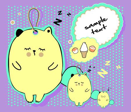 Vector kid illustration with funny sleeping kittens.