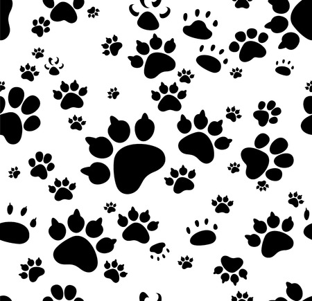monochromic: Vector seamless background with animal paws.