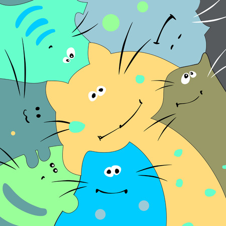 Family of funny multicolored cats. Vector illustration. Illustration