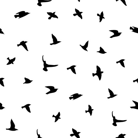 Seamless vector background with birds silhouettes. Illustration