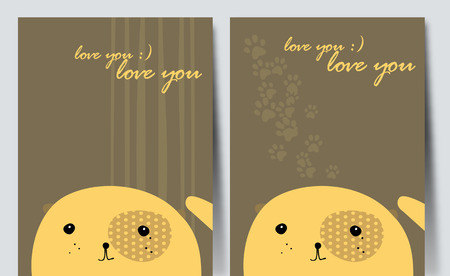 Pretty yellow dog. Simple vector drawing.