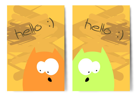 Simple vector postcards with funny cats.