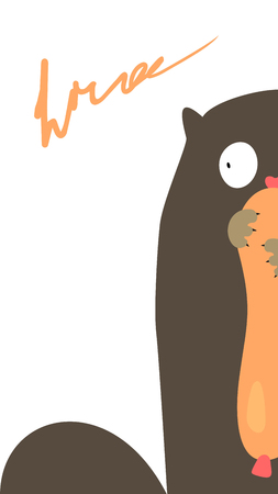 Funny gluttonous cat with sausage. Vector illustration. Illustration