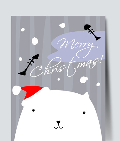 Pretty white cat. Simple vector drawing. Illustration