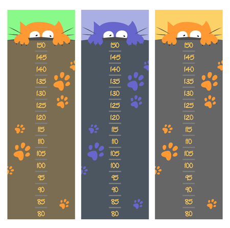 Baby height measure with funny kitten (scale 1:2). Illustration