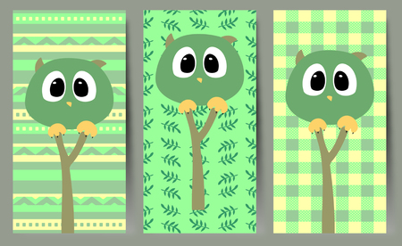 Simple vector illustration with funny owls. Illustration