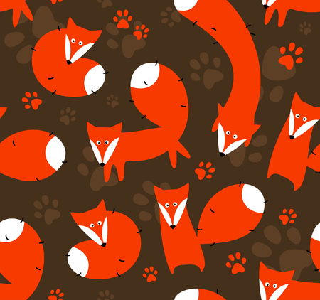 Seamless vector background with orange foxes.