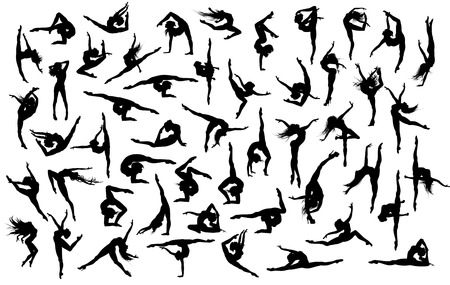 gymnasts: Big vector set of 50 gymnasts and dancers silhouettes. Illustration