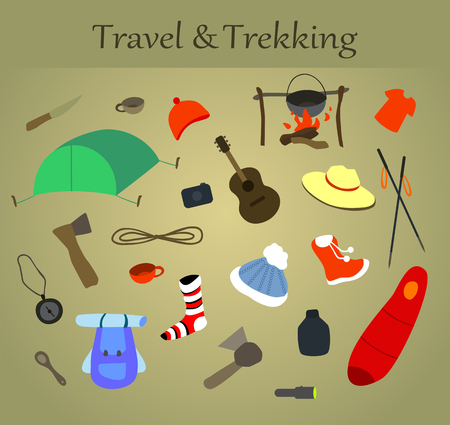 Vector set of trekking and travel icons.