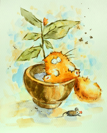 Funny lazy red cat sitting in the flower pot . Watercolor painting.