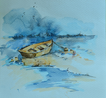 The lonely boat on the sea. Watercolor painting.