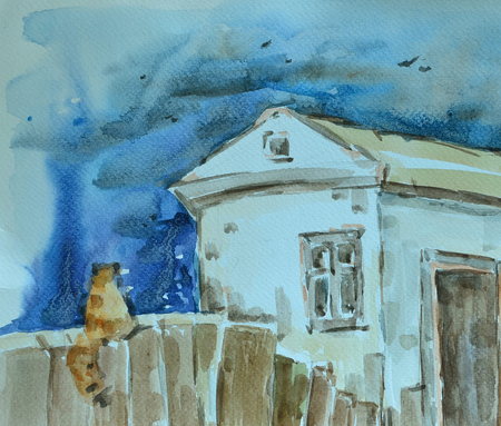 The rural yard in rainy weather. Watercolor painting.  Stock Photo
