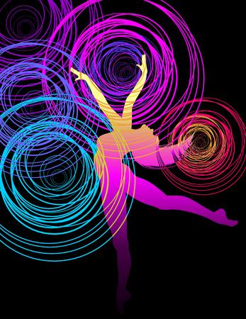 Beautiful dancing girl in bright multicolored circles. Illustration
