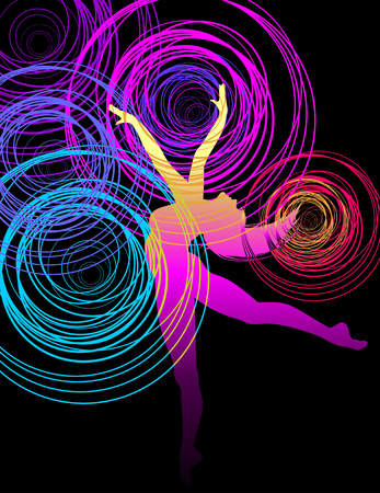 Beautiful dancing girl in bright multicolored circles. Illustration
