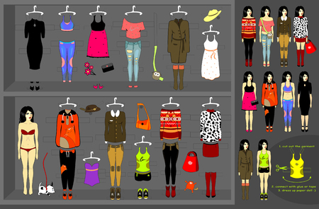 Dress up paper doll. Vector set of 12 various kits of clothes. Illustration