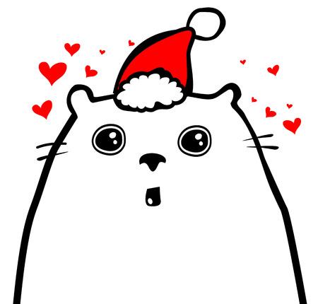 Funny dog in Christmas hat. Vector illustration.