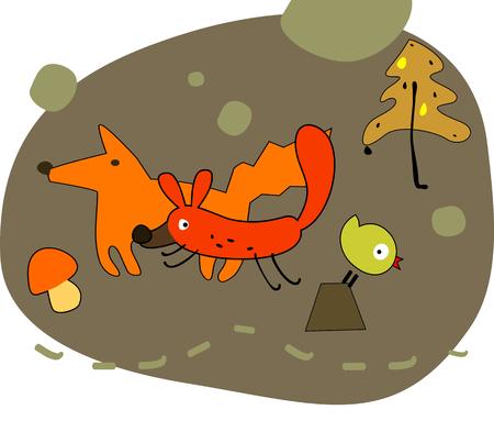 Winter forest illustration. Illustration