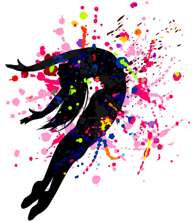 Beautiful dancing girl in bright multicolored splatters.