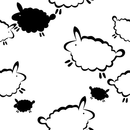 Funny sheep in black and white vector seamless print. Illustration