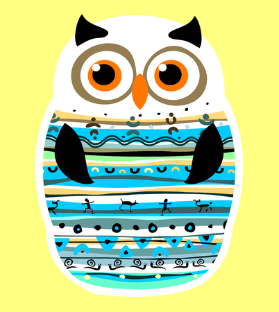 Simple vector illustration with owl. Illustration
