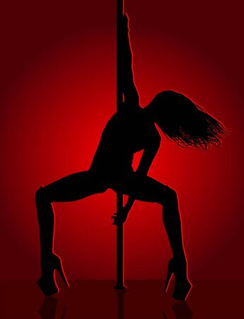 Romantic dancing girl in red light. Vector illustration. Ilustracja