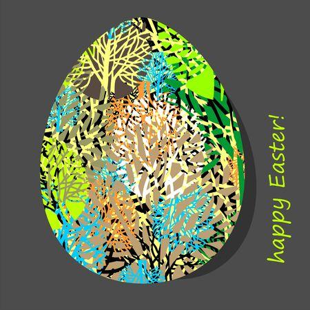 Easter egg with natural pattern. Vector illustration.