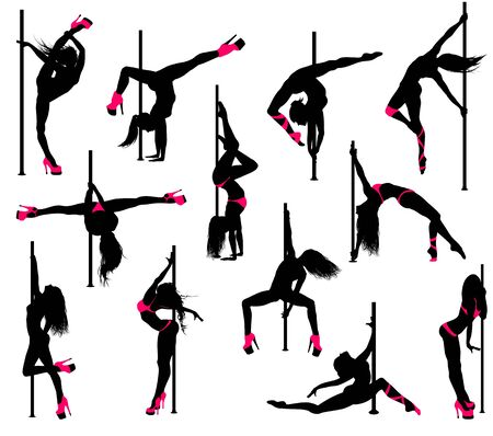 Pole dancer silhouettes isolated on a white. Vector set.