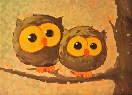 Hand-drawn illustration with funny owls. Oil painting.