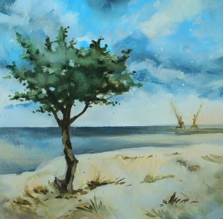Hand-drawn oil painting with the calm sea view.