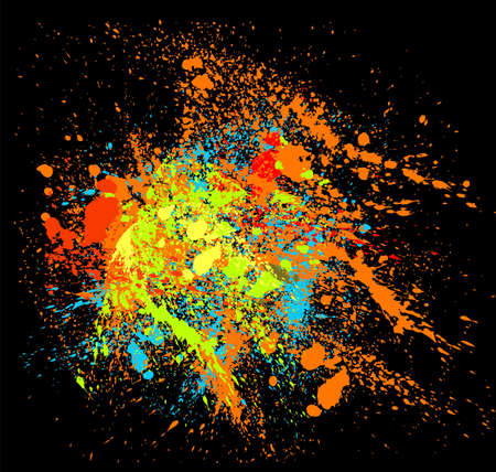 Abstract vector background with bright multicolored splatters. Illusztráció