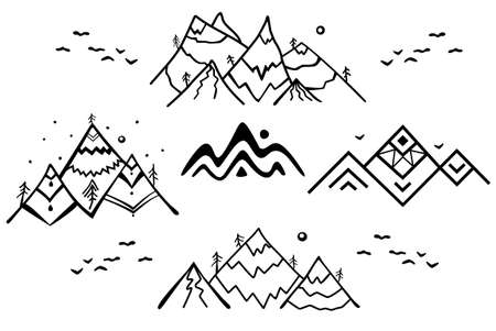 Vector tattoo set with the linear mountains.