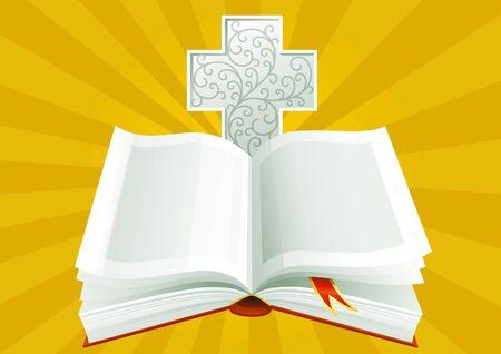 Open Bijbel met sierlijke kruis op achtergrond van zonnestralen.