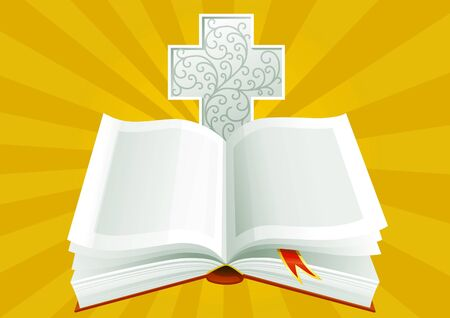 Open Bible with ornate cross on background of Sunbeams.