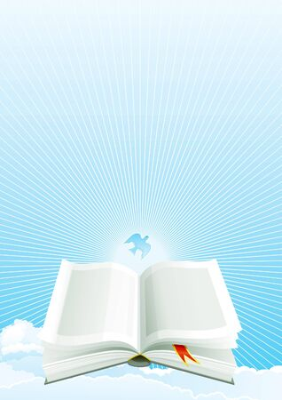 Open Bible and Dove on sky with Sunbeams.