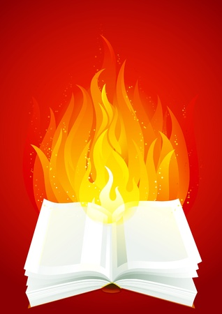 Fire book. Open book with flame on red background. Vector