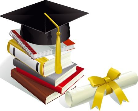 graduation cap and diploma: Education. Mortar Boards, books and Diploma.