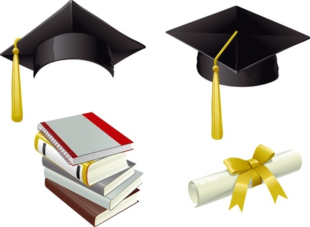 black cap: Graduation. Isolated Mortar Boards, books and Diploma