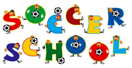 playschool: Soccer school. Word - soccer school - as a team of soccer players from amusing letters