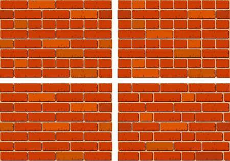 bricklaying: four seamless patterns with different kinds of  bricklayings Illustration