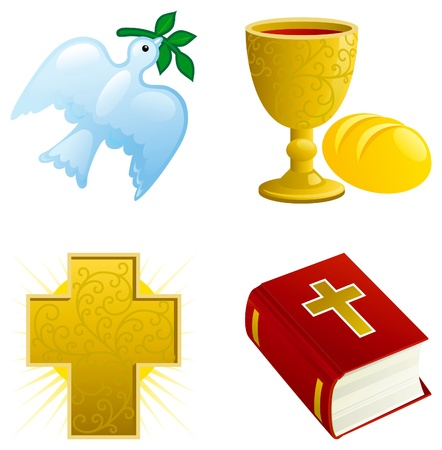 Icon set of Dove with olive branch, Religious cross, Bread, gold Chalice with Wine and Bible.
