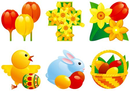 Icon set for easter of easter eggs; easter bunny, chicken, easter basket, tulip and daffodils and cross.