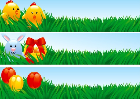 Easter banners. Three easter banners with easter bunny, basket with eggs, chickens and tulips in green grass. Illustration