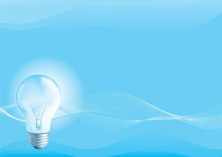 Electric lightbulb. Lightbulb on a blue horizontal abstract background.