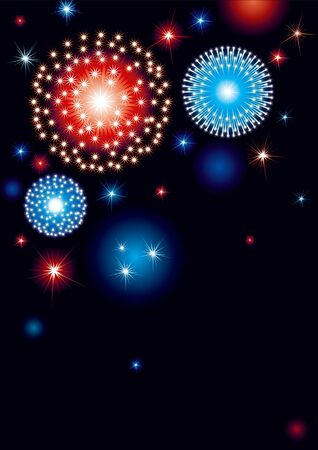 background with many stars and fireworks on night dark sky Vector