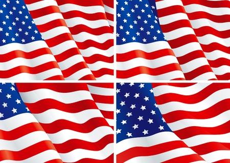 bandera americana: Cuatro fondos con la bandera estadounidense.